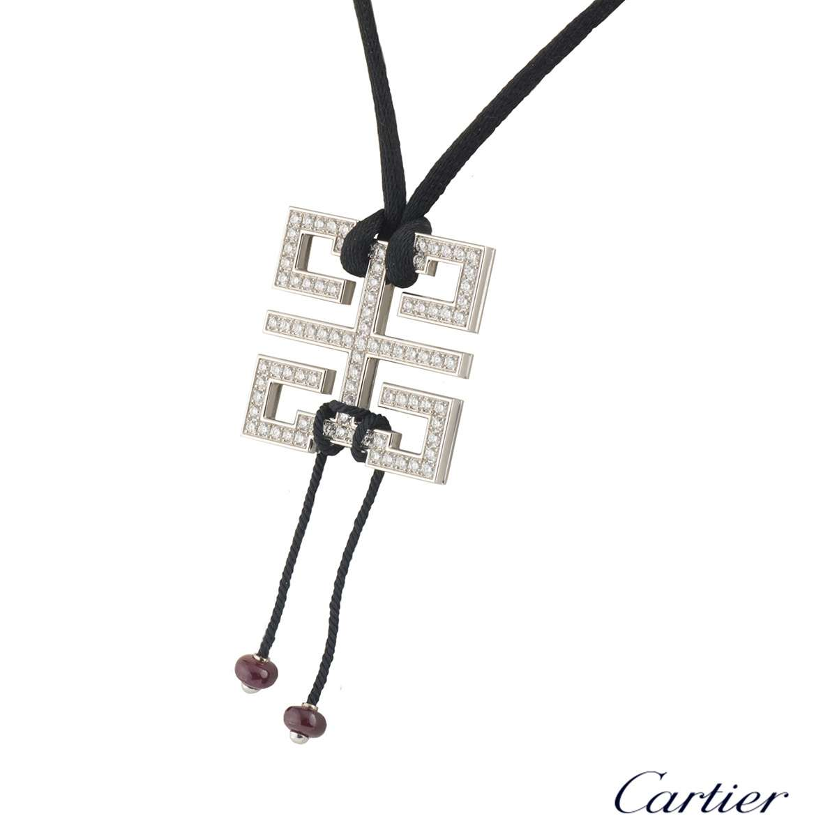 Cartier White Gold Diamond Le Baiser Du Dragon Pendant